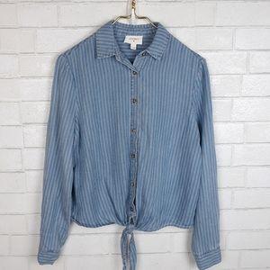 Everly Striped Front Tie Denim Shirt C44